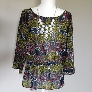 3/4 length sleeve blouse with elastic fitted waist